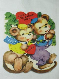 Vintage 50's VALENTINE CARD with MONKEYS by LavenderGardenCottag, $5.00