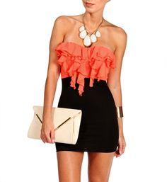 Coral/Black Strapless Ruffle Short Dress