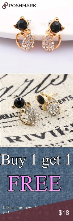 """Small rhinestones gold cat 🐱 earrings *BUY 1 Get 1 FREE (equal or less value) - Price is firm except bundle. - Bundle: 5% off (2 items), 10% off (3 items), 15% off (4 or more items) -I can combine shipping up to 5lb  Description: -Material: gold alloy -Color: black -Size: approximately : 0.39""""-0.78"""" -Quantity: 1Pc -Condition: 100% Brand New -Brand Name: HSTORE6S  #Dazzling #Bow #Stud Earrings Women * Also a nice gift to your friends, sisters or relatives. #crystal #stud #earrings #fashion…"""