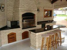 Churrasqueira outro ângulo Outdoor Garden Bench, Outdoor Kitchen Patio, Outdoor Kitchen Design, Rustic Outdoor, Modern Kitchen Design, Rustic Kitchen, Barbecue Garden, Brick Cladding, Brickwork