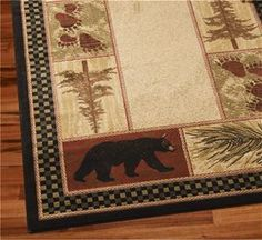 Delectably Yours Decor Black Bear Pine Lodge Rug 2x3, 2x8 runner 5x8 or 8x10  #DelectablyYours Cabin Lodge Decor