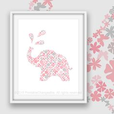 1401e91x90 Elephant art printable 01e - Pink gray 91 - Safari nursery wall art - Kids room decor - Instant download  See this design in other