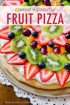 Pizza You can't beat a classic! This colorful, delicious Fruit Pizza has the works and is baked on my soft sugar cookie crust.You can't beat a classic! This colorful, delicious Fruit Pizza has the works and is baked on my soft sugar cookie crust. Fruit Pizza Cups, Fruit Pizza Frosting, Mini Fruit Pizzas, Easy Fruit Pizza, Fruit Pie, Fruit Cakes, Soft Sugar Cookies, Sugar Cookie Dough, Sugar Cookies Recipe