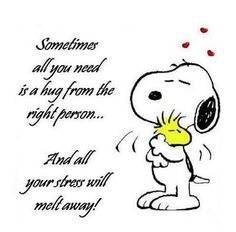 Sometimes all you need is a hug from the right person love quote hug charlie brown love quote snoopy positive quote stress Snoopy Hug, Snoopy Love, Snoopy And Woodstock, Peanuts Snoopy, Goodnight Snoopy, Snoopy Comics, Peanuts Quotes, Snoopy Quotes, Me Quotes