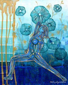 Yoga Art Water Sprite Print by ElizaTobin on Etsy