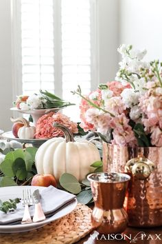 Tablescape: Pumpkins and Peaches blush flowers, copper accents, and white pumpkins: creative fall tablescapeSpring flowers Spring flowers may refer to: Thanksgiving Tablescapes, Thanksgiving Decorations, Seasonal Decor, Table Decorations, Holiday Decor, Wedding Decorations, Fall Home Decor, Autumn Home, Blue Fall Decor