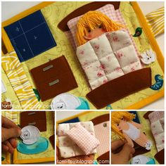 Dollhouse book, quiet book busy book, fabric book, felt book, felt paper doll, кукольный домик, развивающая книжка, bedroom
