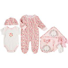 Seven Piece Pink Bunny Baby Set