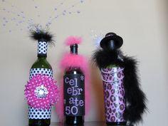 Birthday decorated wine bottles