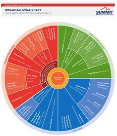 Radial organizational chart (org chart)