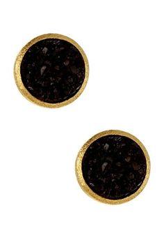 {18K Gold Clad Round Black Druzy Stud Earrings} Riva Friedman