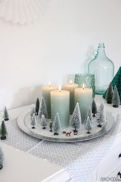 Do you already have an Advent wreath for this year? Yes, but it is not a wreath in the true sense, but a miniature winter forest with four candles pro. Rustic Christmas, Christmas Time, Christmas Wreaths, Christmas Ornaments, Advent Wreaths, Christmas Tables, Nordic Christmas, Reindeer Christmas, Modern Christmas