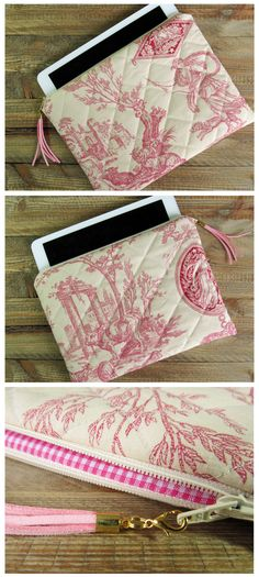 case for iPad or eReader made of burgundy creme Toile de Jouy with pink suede tassel