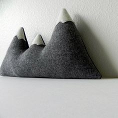the Sisters grey wool mountain range pillow by ThreeBadSeeds