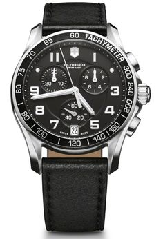Victorinox Mens Black Chronograph Dial Leather Strap Classic Watch 241493.  This Mens Victorinox watch has a stainless stainless steel case which is set around a black chronograph dial luminescent hands and index, and date window. It features anti-reflective sapphire crystal, tacymeter and screw-in caseback. A black leather strap completes the look. Water resistant to 100M