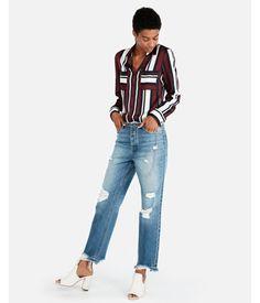 67957287fd Express Womens Petite Slim Fit Stripe Portofino Shirt Stripe Women s Xs  Petite Stripe Xs Petite