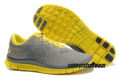 $54.29   Mens Nike Free 4.0 V2 Cool Grey/Yellow Shoes
