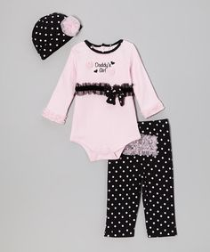 Take a look at this Pink 'Daddy's Girl' Ruffle Bodysuit Set by Baby Essentials on #zulily today!