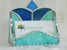 Business card holder in stained glass desk by ClearerImage on Etsy, $19.95