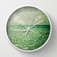 Sea of Happiness Wall Clock by Olivia Joy StClaire - $30.00 beach house decor, ocean art, summer art, home decor, home decorating, dreamy decor, romantic, sea, coastal cottage decor, teal, aqua, Lake Michigan, hearts, clock
