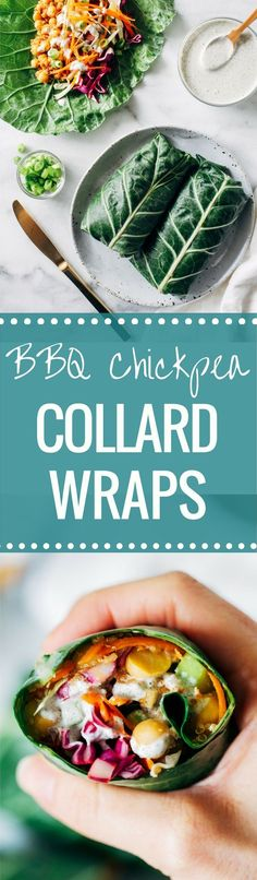 Barbecue ChickpeaCollard Wraps with Hemp Ranch Dressing- packed with protein and fiber, these veggie-filled collard wraps make the perfect healthy lunch! (vegan, gluten-free, grain-free) If there's one thing I think we could all use more of in our diet this year, it's leafy greens. They're brimming with fiber, vitamins and minerals, and they contain superfood …