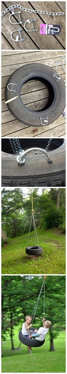 DIY - Old Fashioned Tire Swing made just a touch more safe. I remember these were a blast!