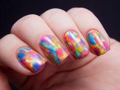Chalkboard Nails: Neon Abstract Brush Strokes