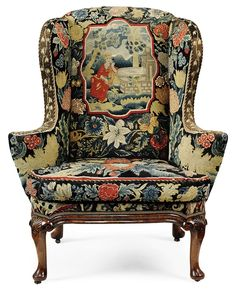 George I Walnut Wing Armchair with Intricate Needlework c.1720