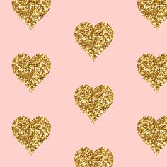 Gold Glitter Hearts on Pink fabric by sparrowsong on Spoonflower - custom fabric