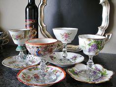 Wedding shot glasses wine glass vintage teacups vintage by NEWaged, $98.00