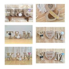 再販開始【3点セット】ナチュラルイニシャルオブジェ Welcome Boards, Wedding Decorations, Place Card Holders, Wallpaper, Handmade, Beautiful, Ideas, Wedding, Weddings