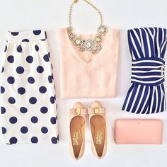 Chic sophisticated elegant pencil skirt and pastel pink blouse