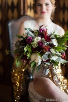 Love this.  Just sub the pinks and maroons for greens and blues.  But love the foliage, texture, shape, etc. Beautiful Bouquet -- Good Earth flowers -- eco friendly flowers: Wedding Flowers, Florist, Kansas City, Overland Park, Good Earth Floral Design Studio, KC