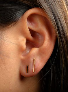 Bar Earring SET Sterling Silver & Gold Plated Bar Post Earrings Line Earrings Stud Earrings Set Minimalist Modern Jewelry Gift COM002