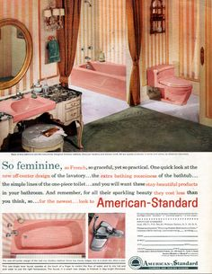 One of my favorite mid-century sites is Retro Renovation run by Pam Kueber who also created the wonderful Save the Pink Bathrooms site. Pink Bathroom Rugs, Vintage Bathrooms, Laundry In Bathroom, Pink Bathrooms, Art Nouveau, 1960s Home Decor, Mid Century Bathroom, Laundry Room Layouts, Pink Baths