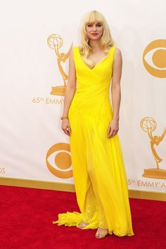 Anna Faris in Monique Lhuillier On the Red Carpet at the 65th Primetime Emmy Awards [Photo by Amy Graves]