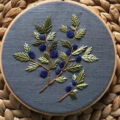 "118 Likes, 10 Comments - Kathleen (@walnutandlaurel) on Instagram: ""Blueberries #hoopart #handmade #handembroidery #stitching #blueberry"""