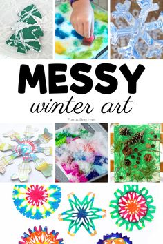 Messy art projects for kids are pure gold! These seasonal winter art projects are aimed at preschool kids, but toddlers and older kids like kindergarteners will love them too! #funaday #preschool #preschoolart #winter #winterart