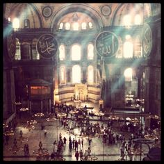 Rays of light illuminate Hagia Sophia in Istanbul