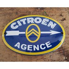 Plaque émaillée publicité d'époque Citroen Car, Car Logos, Steel Buildings, Dali, Chicago Cubs Logo, Peugeot, Chevron, Classic Cars, Nostalgia