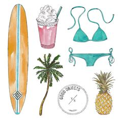 Good objects - Sunday summer essentials #goodobjects #miami #illustration