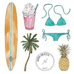 Good objects - Sunday summer essentials #goodobjects #miami #illustration
