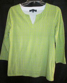 Jones-New-York-Signature-Womens-Top-Medium-3-4-Sleeves-Lime-Green-With-White