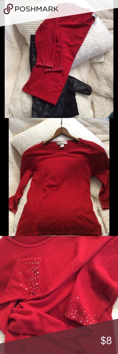 Red Knit Top Classic Casual Corner basic luxury Knit.  Rayon, nylon, Spandex for a comfortable fit.  3/4 sleeves ace with subtle graduated rhinestone detail. Great condition. Vintage Tops