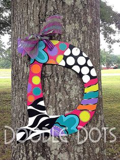 Funky+Style+Door+Hanger+ANY+LETTER+by+DoOdLeDotsAnDmOre+on+Etsy,+$30.00
