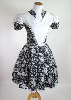 60s Square Dance Dress Navy White Floral by BijouVintageBazaar, $39.99