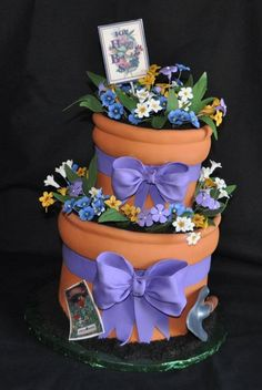 Flower Garden Cake Ideas | Flower Pots by Custom Cakes by Susan