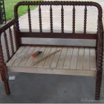 Another headboard re-purposed into a bench....possible re-use for baby's crib?