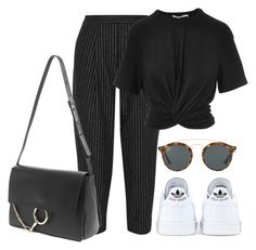 """Untitled #4366"" by ericacavaco12 ❤ liked on Polyvore featuring DKNY, T By Alexander Wang, adidas, Ray-Ban and Chloé"