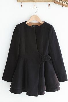Collarless Tweed Coat
